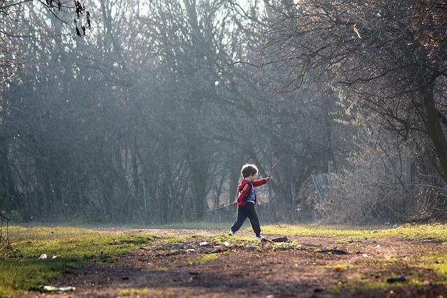 chlapec, podzimní les