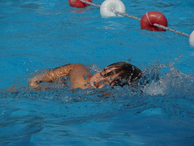 malý chlapec plave v bazénu