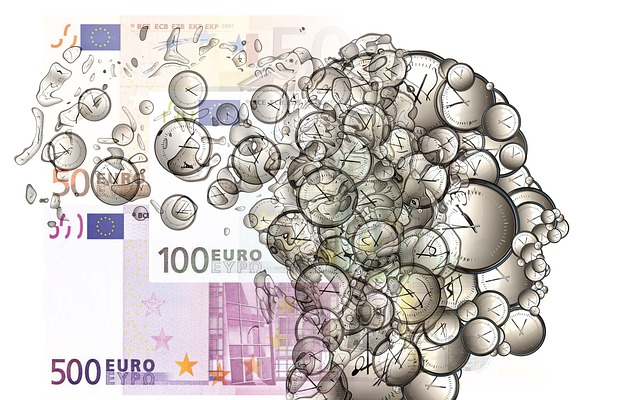 tvář, hodiny, euro bankovky
